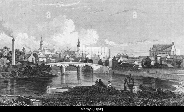 Engraving depicting a bridge spanning the White Cart Water in the town of Paisley, Scotland, 1850. From the New - Stock Image
