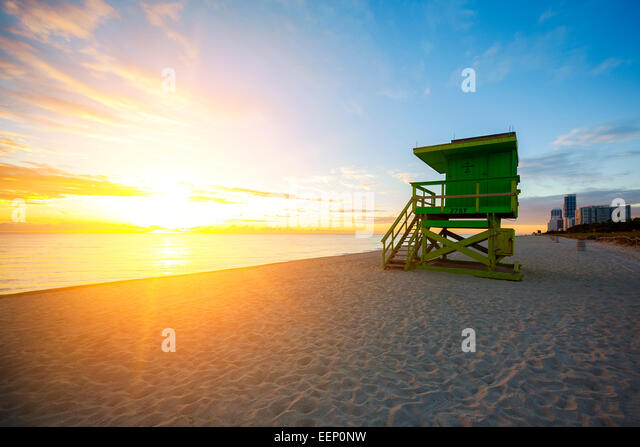 Miami South Beach sunrise with lifeguard tower, USA. - Stock Image