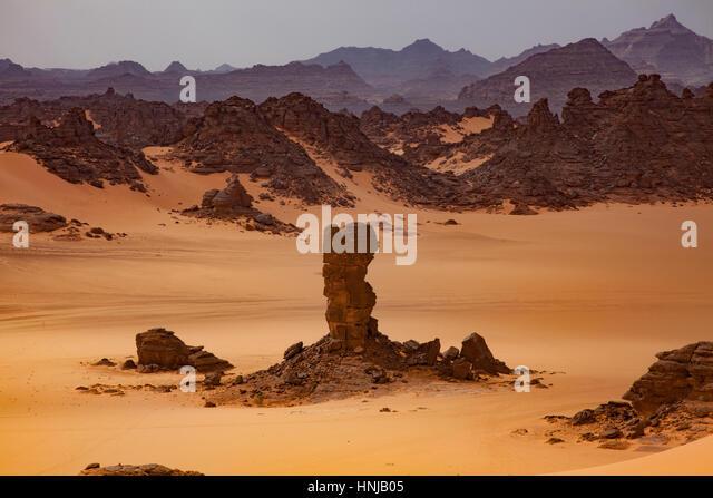 Sandstone and dunes, Jebel Acacus, LIbya, Mountains in Sahara Desert UNESCO World Heritage Site, The Awiss  Africa - Stock-Bilder