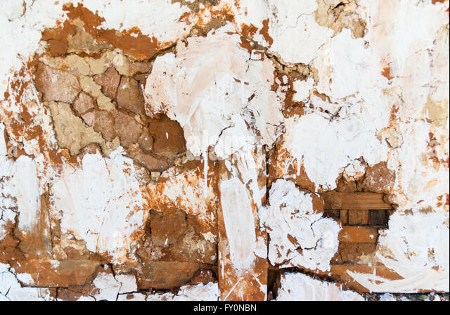 Detail of decaying whitewashed wattle and daub wall on traditional building in Wangdue Phodrang (Wangdi), Bhutan - Stock Image