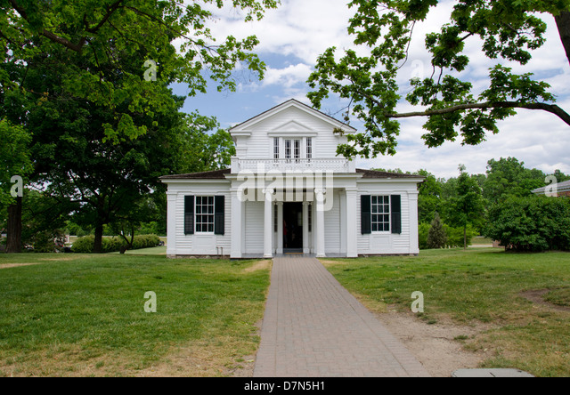 Michigan, Wyandotte. Greenfield Village. Poet Robert Frost's Home, c. 1835, built in Ann Arbor, Michigan. - Stock Image