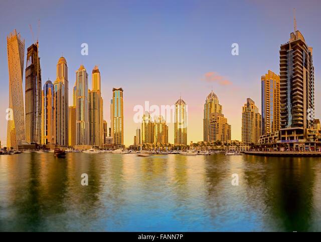 Skyline sunset picture shot at Dubai marina - Stock Image