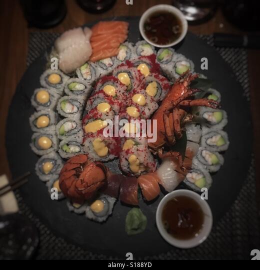 Sushi plate - Stock Image