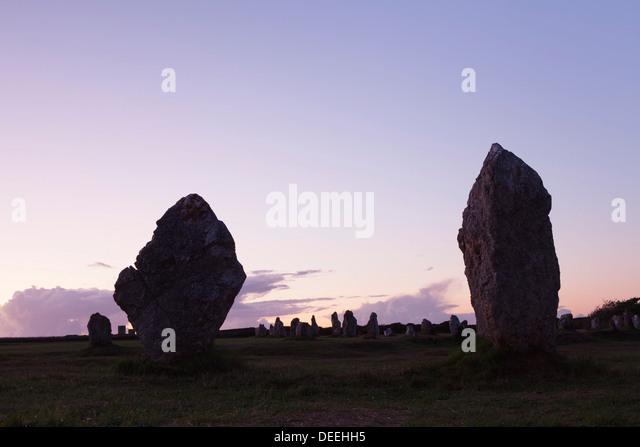 Megaliths of Alignements de Lagatjar, Camaret, Rade de Brest, Brittany, France, Europe - Stock Image