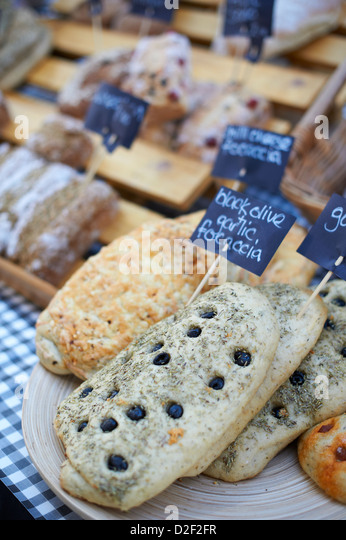 Fresh home made bread at St Georges indoor farmers market, Belfast Northern Ireland - Stock Image