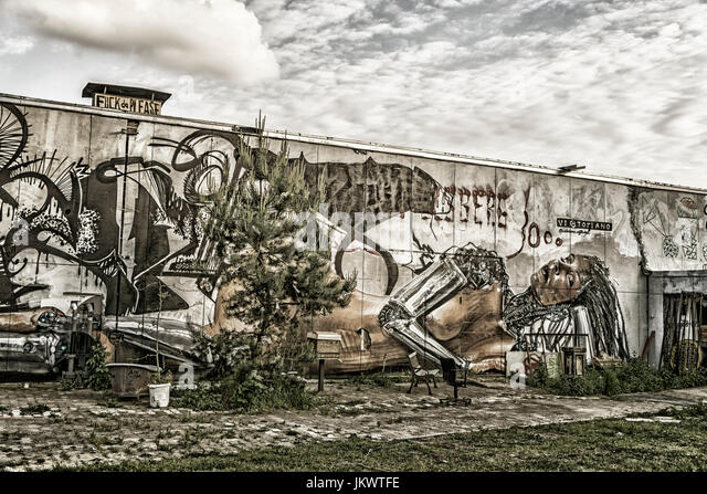 Teufelsberg, former monitoring system of the U.S. Army, abandoned building, Graffiti,  Berlin, Germany - Stock Image