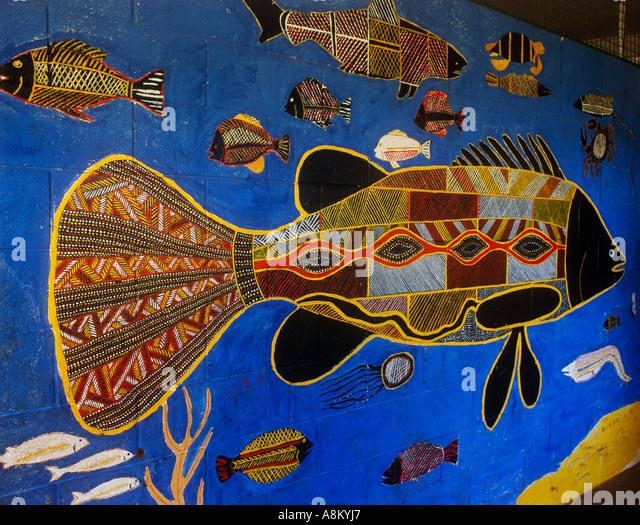 Australian aborigines art painting stock photos for Australian mural