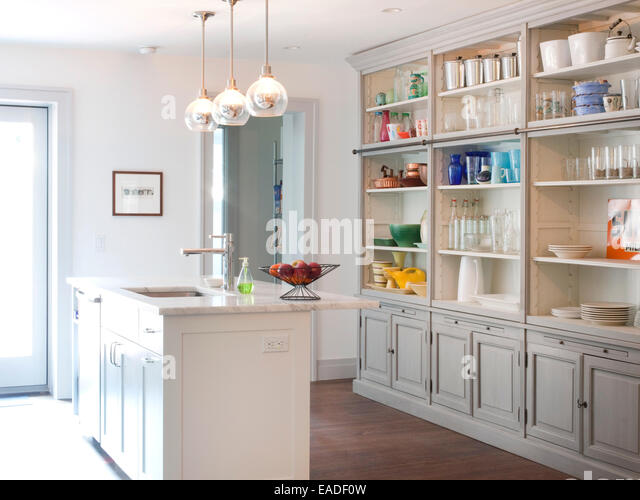 kitchen island and storage - Stock Image