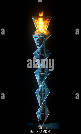 Olympic torch at night during the 2002 Winter Olympics Salt Lake City UT - Stock Image