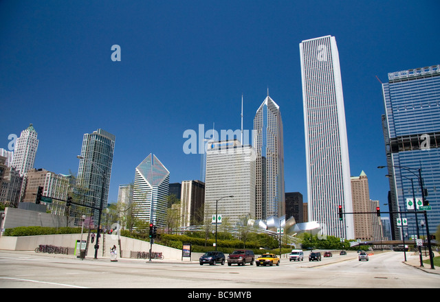Grant Park located in the Loop community area of Chicago Illinois USA - Stock Image