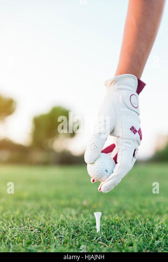 Hand woman putting a golf ball on the tee. Golf Concept. - Stock Image
