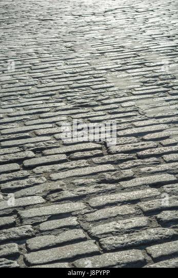 Cobblestone / cobble stone streer in Truro, Cornwall. UK - Stock Image