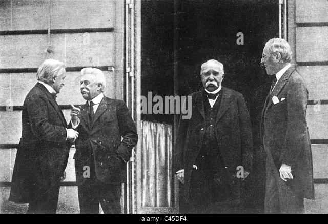 Allied leaders at Versailles: George, Orlando, Clemenceau, Wilson, 1919 - Stock Image