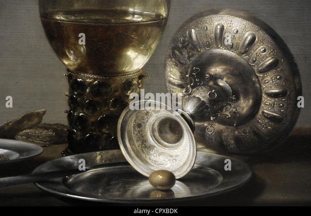 Pieter Claesz (c. 1597-1660). Still life, c. 1635. Detail. - Stock Image