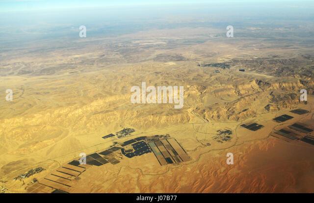 An aerial view of the Arabah desert in Israel. Kibbutz Lotan, Ketura and Grofit. - Stock Image