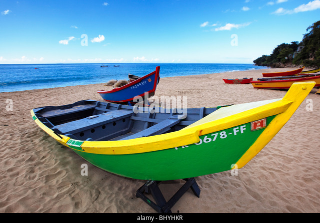 Close Up View of Colorful Boats, Crashboat Beach, Puerto Rico - Stock Image