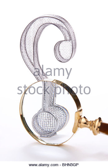 Stock photo of a three-dimensional wire frame question mark with a magnifying glass.  Conceptual image for searching, - Stock Image