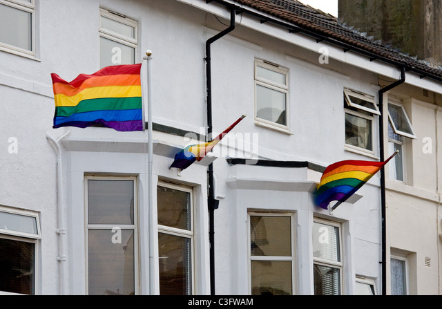 5.5.2011 Gay Pride Rainbow Flags outside a Blackpool guest house - Stock-Bilder