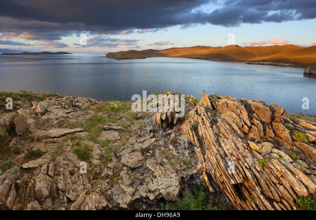 View to the Small Sea (Lake Baikal) from Khibin island. Siberia, Russia - Stock Image
