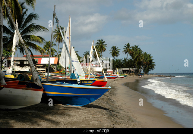 Grenada caribbean island fishing town of Gouyave colorful sailboats fishermans birthday celebration race - Stock Image