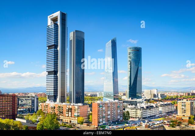 Madrid, Spain financial district skyline. - Stock Image