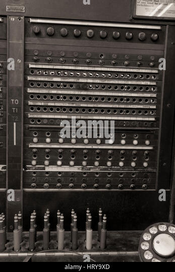 Closeup of a Vintage Bell System Telephone Switchboard with Plugs - Stock Image