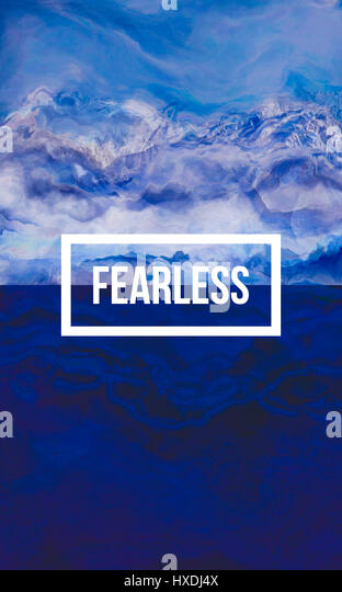 Fearless motivational quote on abstract liquid background. - Stock Image