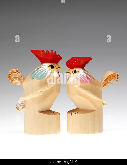Japanese Yamagata traditional wooden rooster carving sasano bori - Stock Image