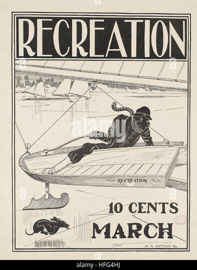 Recreation, 10 cents, March - Stock Image