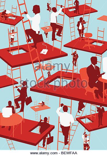Businesspeople working in floating offices - Stock-Bilder