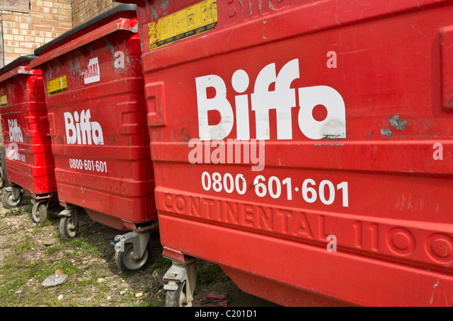 Biffa wheelie bins for waste disposal. - Stock Image