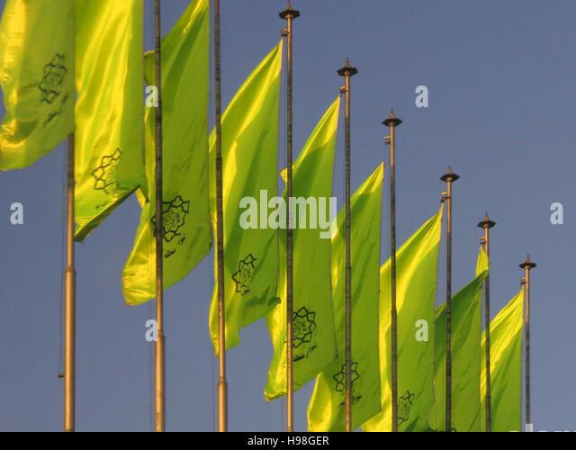 Ornamental flags in Tehran - Stock-Bilder