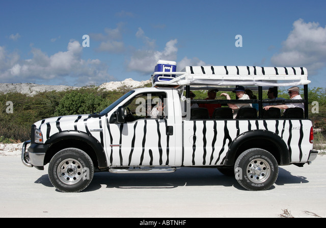 Grand Turk Cockburn Town 4x4 Safari tour vehicle zebra stripes - Stock Image