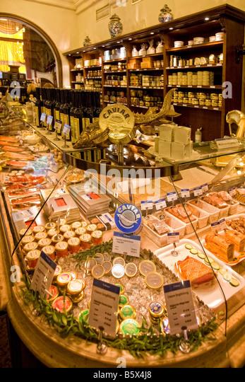 Dahlmeier Delicatessen shop Caviar Munich Germany - Stock Image