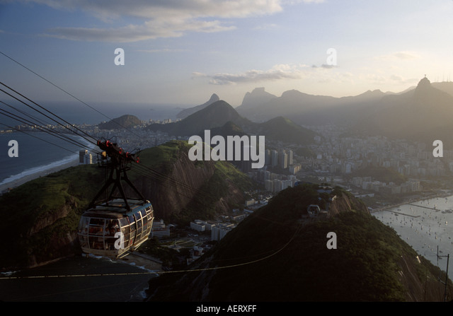 Brazil Rio de Janeiro Sugarloaf 396 meters height cablecar 75 person capacity - Stock Image
