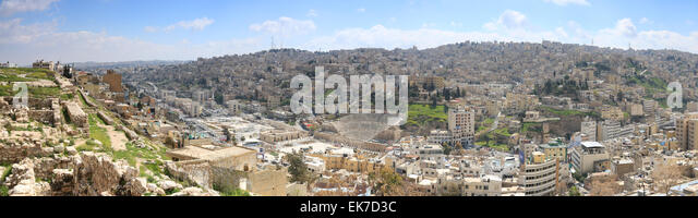 Amman, Jordan - March 22,2015: Panoramic view of Amman from one of the hills sorrounding the city - Stock Image