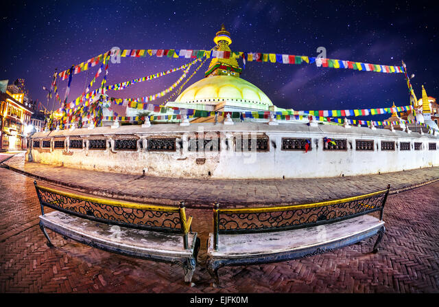 Bodhnath stupa at night sky with stars in Kathmandu valley, Nepal - Stock Image
