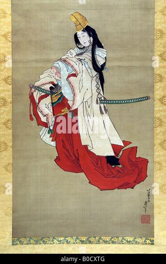SHIRABYOSHI, HEIAN COURT PERFORMER. Painting on silk by Katsushika Hokusai - Stock Image