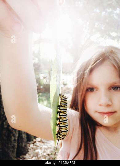 A girl holding a Monarch Butterfly caterpillar on a leaf. - Stock Image
