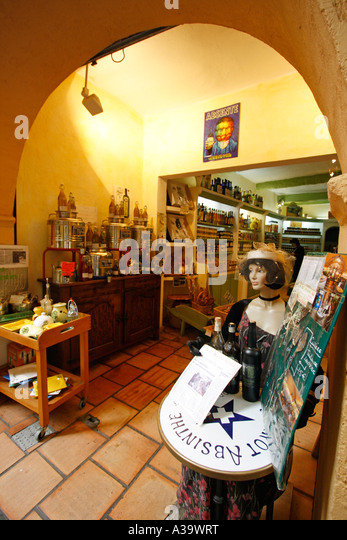 France Nice old city center Absinth shop - Stock Image