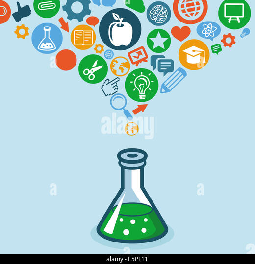 Education and science concept -  icons and signs - Stock Image