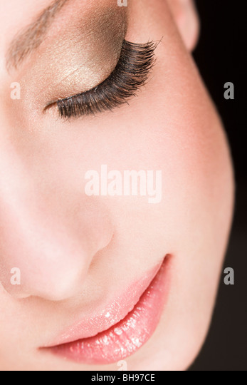 beauty woman with fake eye lashes - Stock Image