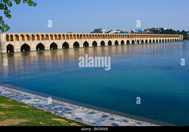 Si-o-se Bridge or Bridge of 33 Arches in Esfahan Iran - Stock Image