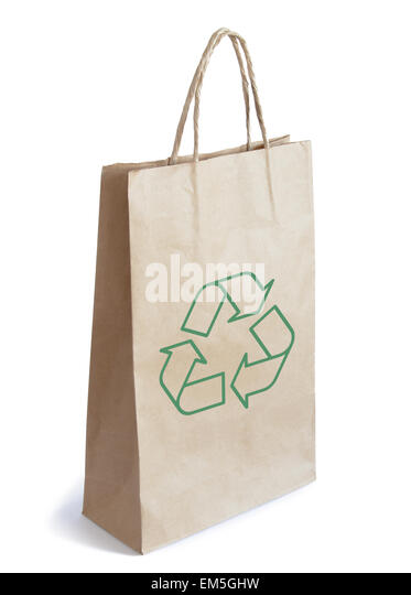 Brown Paper Bag Isolated on White Background - Stock-Bilder