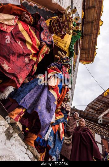 Dance of terrifying deities (Tungam) about to start Paro religious festival Bhutan - Stock-Bilder