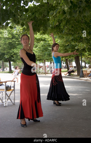 Greek dancers, Spianada, Kerkyra, Corfu, Greece, Europe, - Stock Image