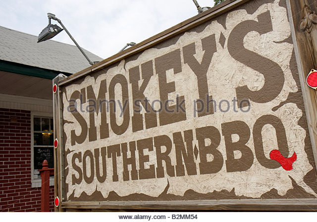 Indiana Chesterton Smokey's Southern Barbecue BBQ sign restaurant food eat meal casual dining cuisine country - Stock Image