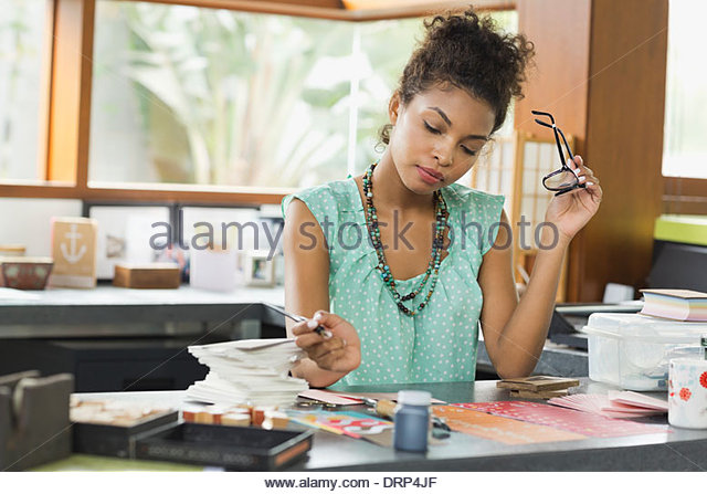 Stationary designer working in studio - Stock Image