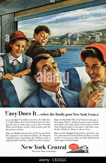 American magazine advertisement circa 1954 advertising family travel on NEW YORK CENTRAL railway - Stock-Bilder