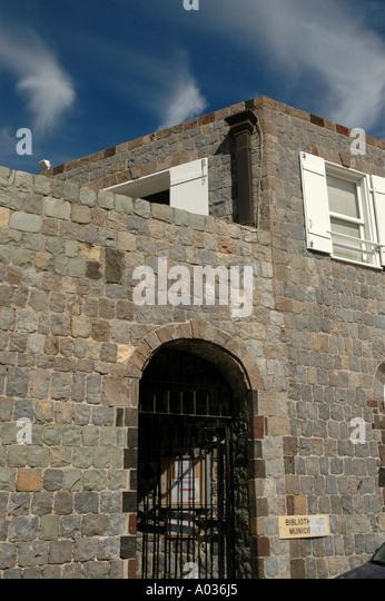 St Barths Saint Barthelemy Wall House Municipal Museum Gustavia landmarks attractions - Stock Image